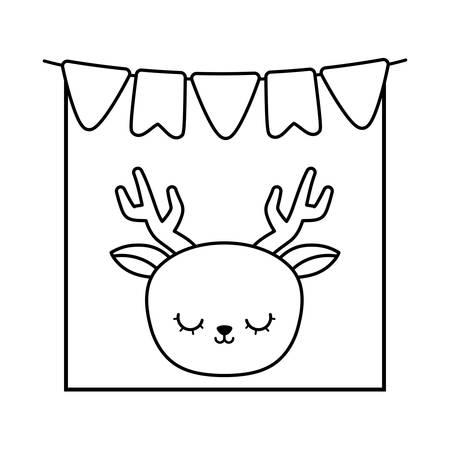 head of cute reindeer in frame with garlands hanging vector illustration design Ilustração