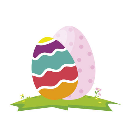 happy easter eggs painted vector illustration design Ilustração