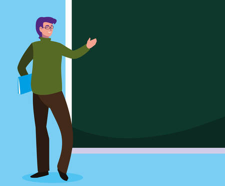 teacher male with documents and chalkboard vector illustration design 일러스트