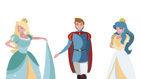 prince charming and two princess of tales characters vector illustration design 일러스트