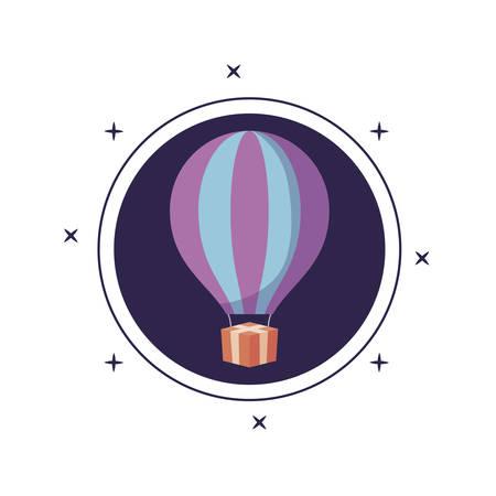 balloon air hot in frame circular vector illustration design