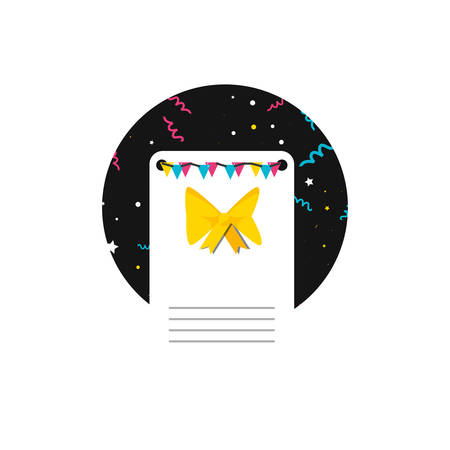 happy birthday card with bow vector illustration design