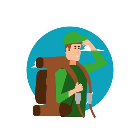 traveler man with travel bag and sky vector illustration design