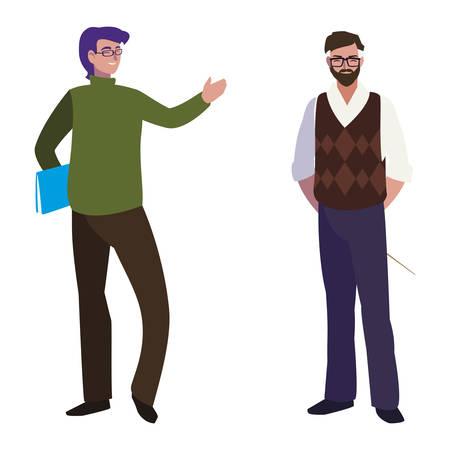 teachers couple avatars characters vector illustration design