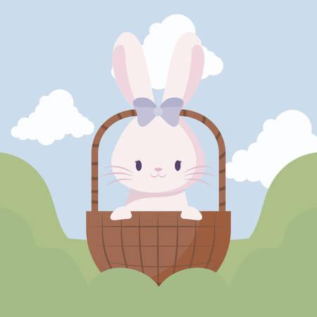 cute rabbit female of easter in basket and landscape vector illustration design Stock Vector - 130298346