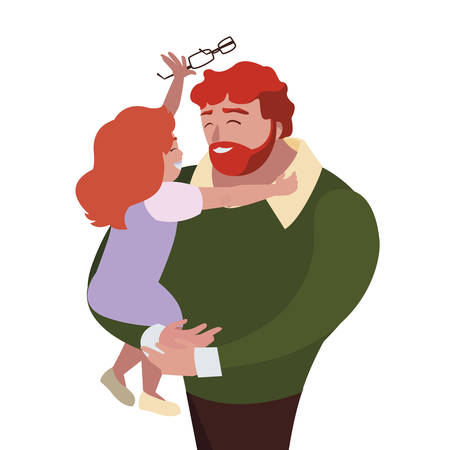 father with daughter characters vector illustration design