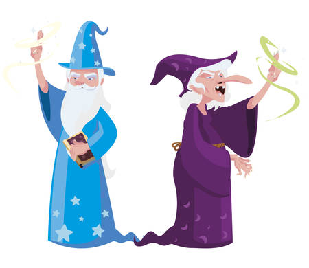 witch and wizard of tales characters vector illustration design Ilustração