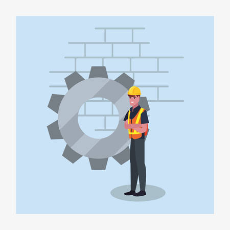 construction worker gear wall vector illustration design