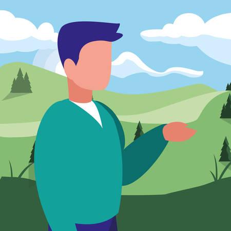 young man in mountains landscape scene vector illustration design