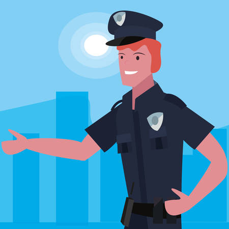 policeman profession labour day vector illustration design