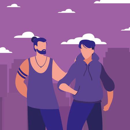 men walking in the city street vector illustration Illustration