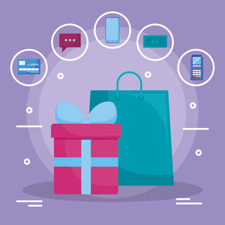 shopping bag with gift box vector illustration design