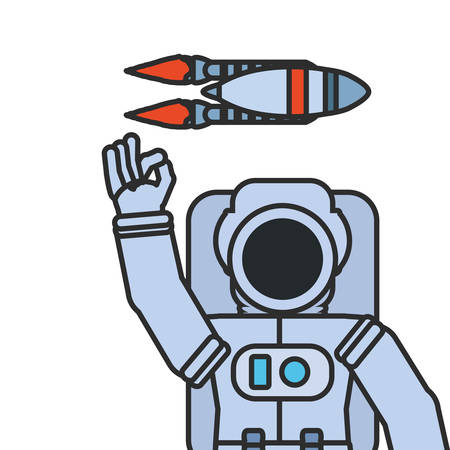 astronaut suit greeting with rocket isolated icon vector illustration design