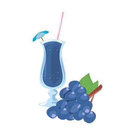 summer time holiday glass cup juice grapes vector illustration Ilustração