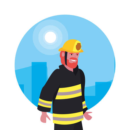 fireman profession labour day vector illustration design