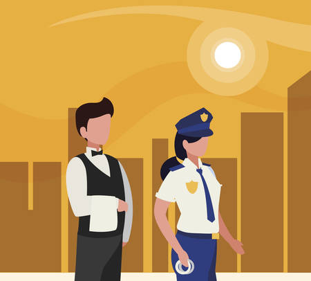 couple of professional workers in cityscape at sunset vector illustration design Stock Illustratie