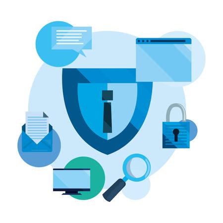 shield warning website padlock analysis cybersecurity data protection vector illustration Illustration