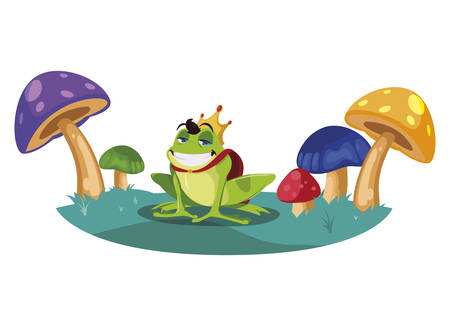 toad prince in fungus garden fairytale character vector illustration design