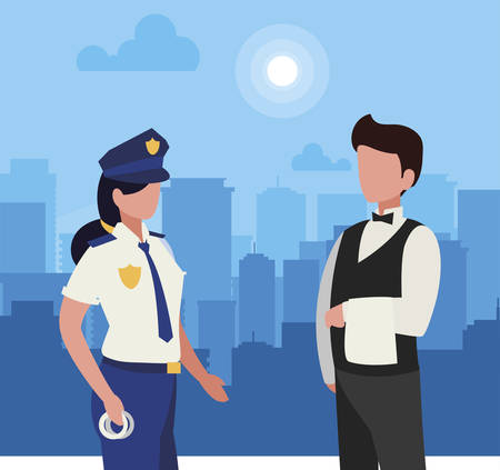 couple of professional workers in cityscape at sunrise vector illustration design 免版税图像 - 130283310