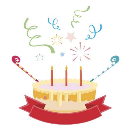 sweet cake birthday with ribbon frame vector illustration design