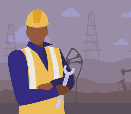 oil industry worker black avatar character vector illustration design