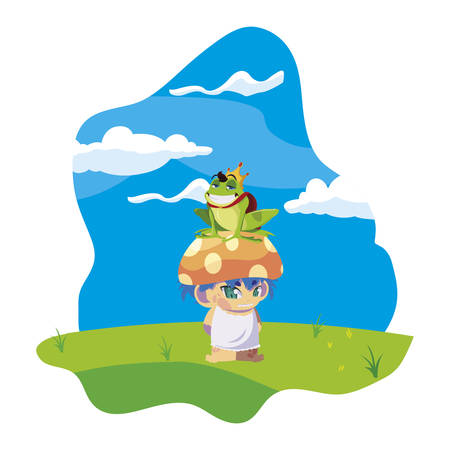toad prince and fungu elf in garden vector illustration design