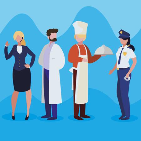 grupa profesjonalnych pracowników znaków wektor ilustracja projektu Ilustracje wektorowe