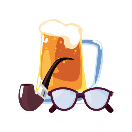beer pipe and eyeglasses happy fathers day vector illustration