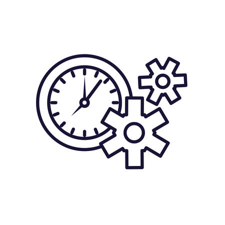 gears pinions machine with clock time vector illustration design