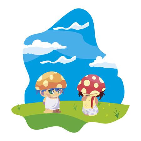 fungus elfs in the garden magic characters vector illustration design