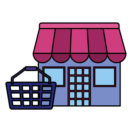 shopping basket with store building vector illustration design