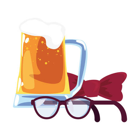 beer bow tie and eyeglasses happy fathers day vector illustration
