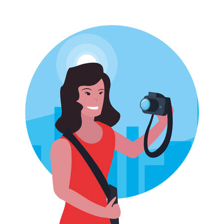 woman photographer profession labour day vector illustration
