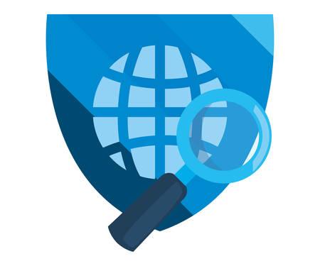 Ilustración de vector de protección de datos de ciberseguridad de lupa de escudo mundial