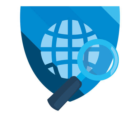 world shield magnifier cybersecurity data protection vector illustration
