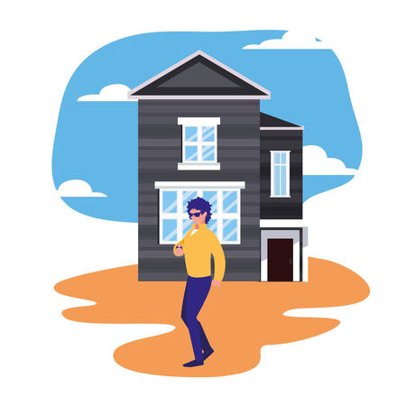 man standing in front of house street vector illustration Illustration