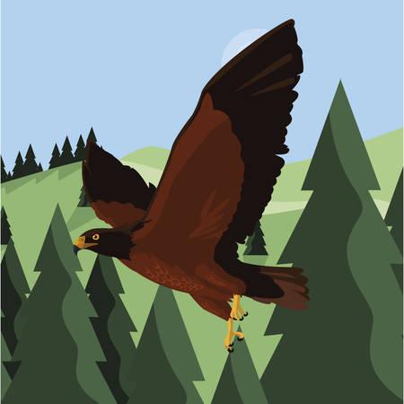 beautiful eagle flying in the landscape majestic bird vector illustration design  イラスト・ベクター素材