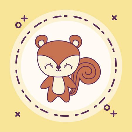 cute chipmunk animal with frame circular vector illustration design