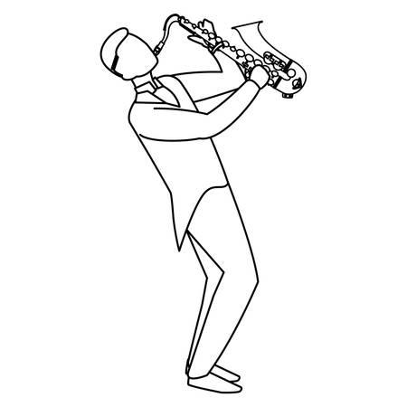 black musician jazz playing saxophone character vector illustration design