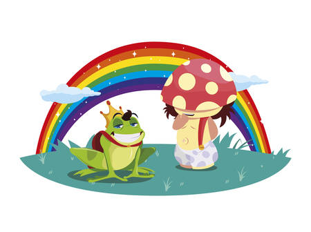 toad prince and fungu elf with rainbow vector illustration design Ilustração