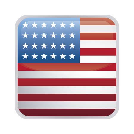 Estado unido de la bandera americana en forma cuadrada, diseño de ilustraciones vectoriales