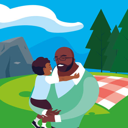 afro father with son in the field picnic day vector illustration design Stock Illustratie