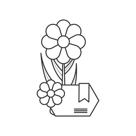 natural flowers with label isolated icon vector illustration design Illustration