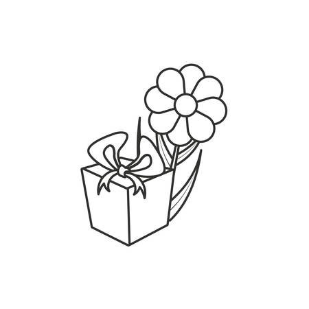natural flower with gift box present vector illustration design