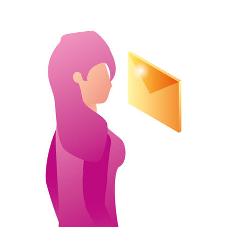 businesswoman worker with envelope mail vector illustration design