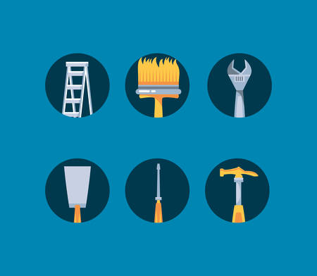 hammer with set tools construction vector illustration design