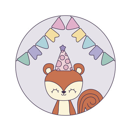 cute chipmunk with hat party in frame circular vector illustration design