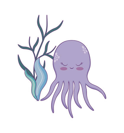 cute octopuses with seaweed vector illustration design