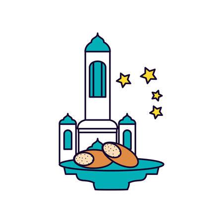 mosque castle with bread food ramadan kareem vector illustration design Çizim
