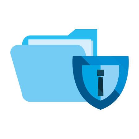 Fichier de dossier de bouclier protection des données de cybersécurité illustration vectorielle